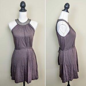 BANANA REPUBLIC Mini Dress, Brown Beaded, PSX